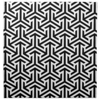 Black and White Geometric Pattern Napkin