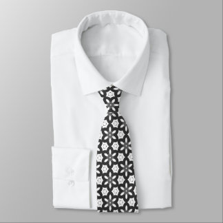 Black and white geometric pattern tie