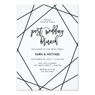 Black and White Geometric Post Wedding Brunch Card