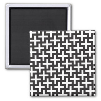 Black and White Geometric Square Magnet