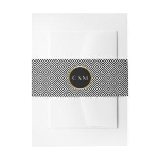 Black and White Geometric Squares Monogram Invitation Belly Band
