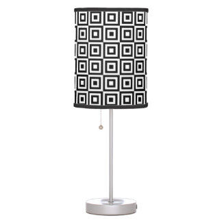 Black and White Geometric Squares Table Lamp