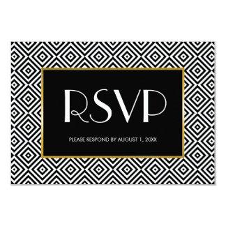 Black and White Geometric Squares Wedding Card
