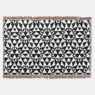 Black and White Geometric Symbol Pattern Throw Blanket