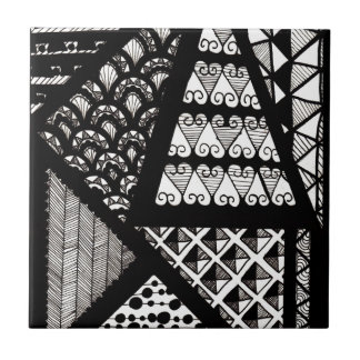 Black and white geometric tile