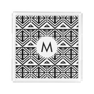 Black and White Geometric Tribal Pattern Perfume Tray