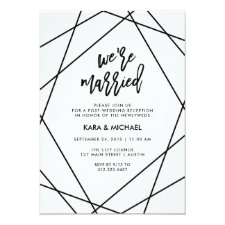 Black and White Geometric | We're Married Card