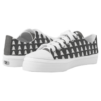 Black and White Ghosts Low-Top Sneakers