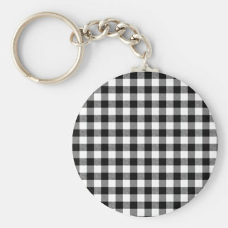 Black and White Gingham Basic Round Button Keychain