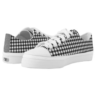 Black And White Gingham Check Pattern Low-Top Sneakers