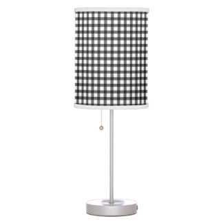 Black And White Gingham Check Pattern Table Lamps
