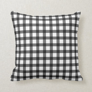 Black And White Gingham Check Pattern Throw Pillow