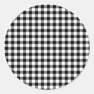 Black and White Gingham Checks Round Sticker