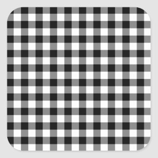 Black and White Gingham Checks Square Sticker