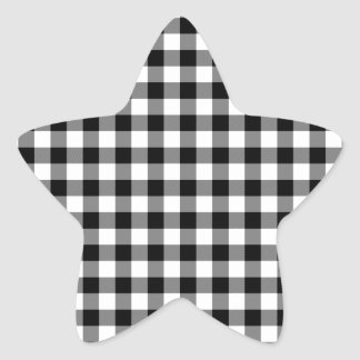 Black and White Gingham Checks Star Sticker