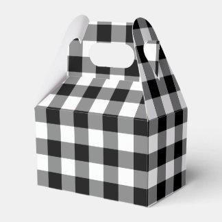 Black and White Gingham Pattern Gable Favor Box
