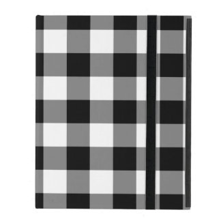 Black and White Gingham Pattern iPad Folio Cover