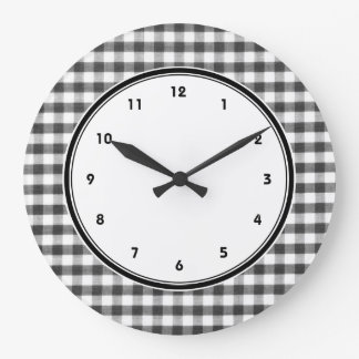 Black and white gingham pattern large clock