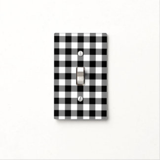 Black and White Gingham Pattern Light Switch Cover