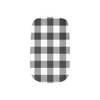 Black and White Gingham Pattern Minx Nail Art