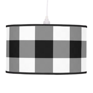 Black and White Gingham Pattern Pendant Lamps