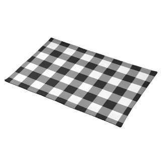 Black and White Gingham Pattern Placemat