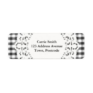 Black and white gingham pattern return address label