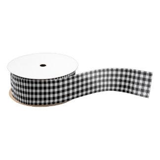 Black and White Gingham Pattern Ribbon Grosgrain Ribbon