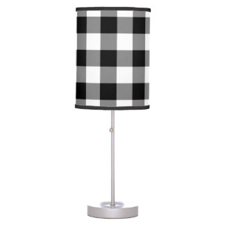 Black and White Gingham Pattern Table Lamp