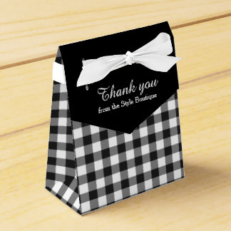 Black and white gingham pattern thank you gift box wedding favor box