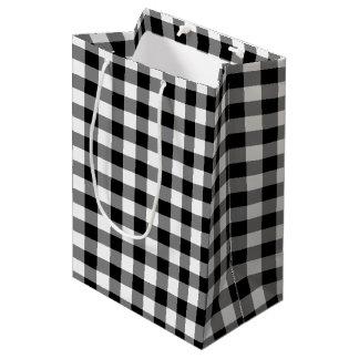 Black and White Gingham Plaid Gift Bag