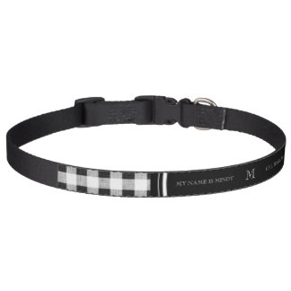 Black and White Gingham, Your Monogram Pet Collar