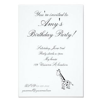 Black and white giraffe 3.5x5 paper invitation card
