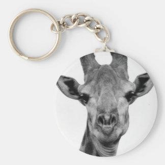 Black and White Giraffe Photograph Keychain