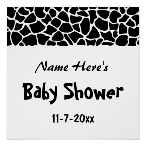 Black and White Giraffe Print Baby Shower Perfect Poster