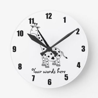 Black and white giraffe round clock