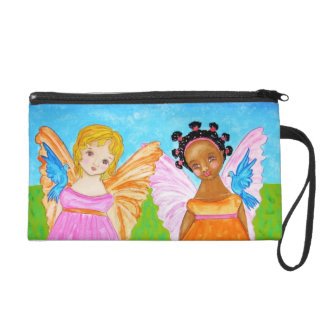 Black and white girlfriends angels faeries bag wristlet purses