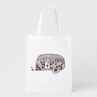 Black and white glamper reusable grocery bag