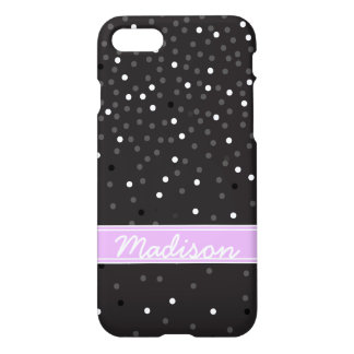 Black and White Glitter Confetti Polka Dots Girly iPhone 8/7 Case