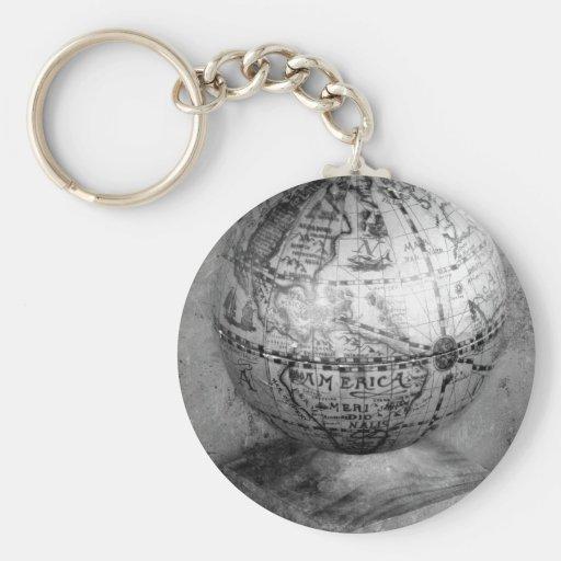 Black and white globe key chain
