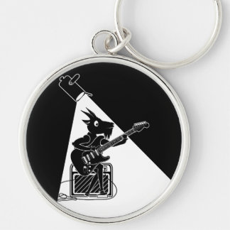 Black and white goat playing an electric guitar Silver-Colored round keychain