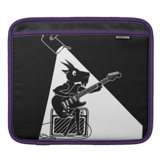 Black and white goat playing an electric guitar sleeves for iPads