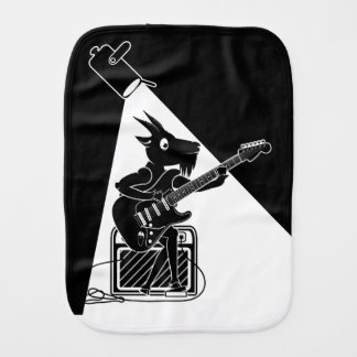 Black and white goat playing guitar burp cloth