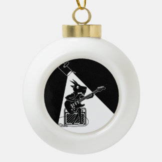 Black and white goat playing guitar ceramic ball christmas ornament