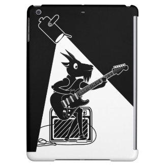 Black and white goat playing guitar iPad air case