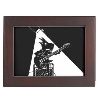 Black and white goat playing guitar keepsake box