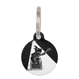 Black and white goat playing guitar pet ID tag