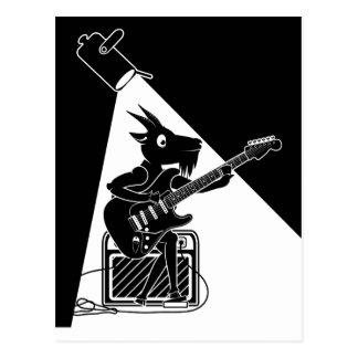 Black and white goat playing guitar postcard