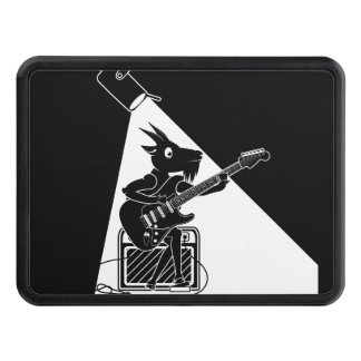 Black and white goat playing guitar trailer hitch cover