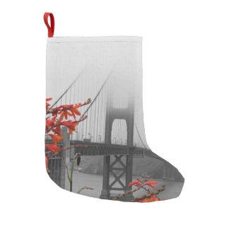 Black and White Golden Gate Bridge Small Christmas Stocking